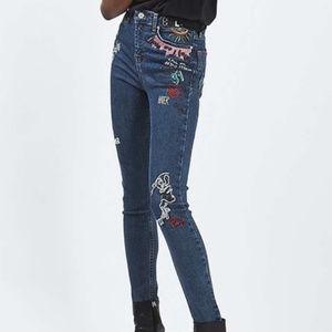 TopShop Jamie High Rise Skinny Scribble Jeans 26